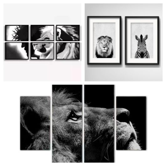 Quadros com inspiração em animais, como o leão, sempre se destacam na decoração