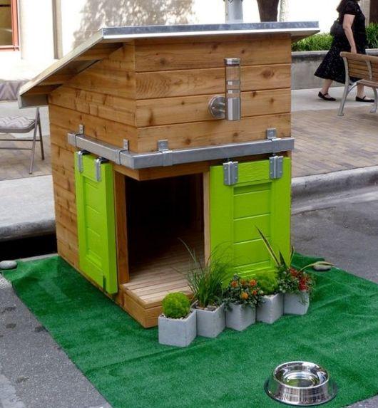 Lindo modelo sofisticado de casinha de cachorro de madeira