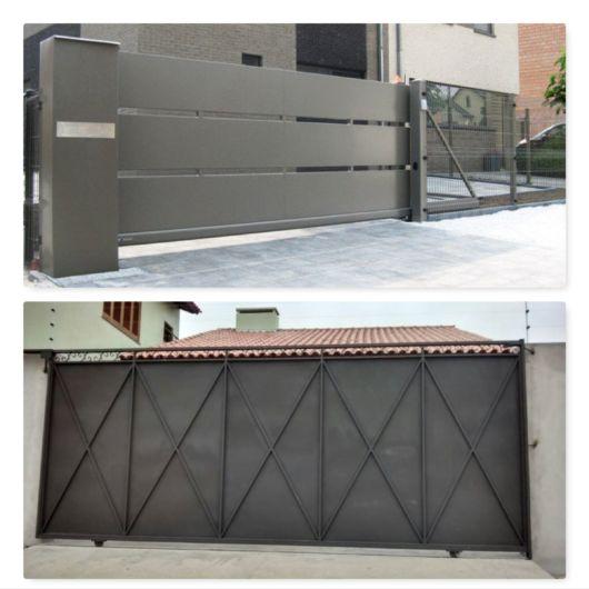 Portão cinza.
