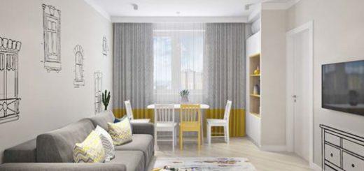 O amarelo nos detalhes complementa a decoração da sala minimalista