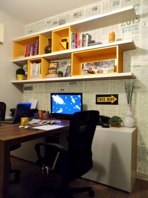nicho para escritório amarelo