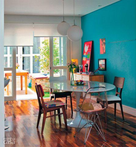 decoração com parede azul