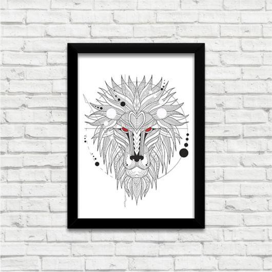 Linhas e cores formando um leão nesse quadro preto e branco