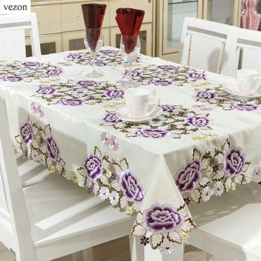toalha de mesa bordada estampa floral