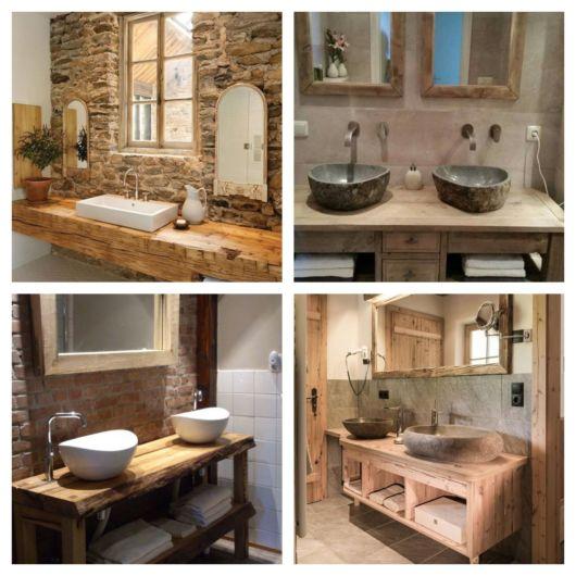 60 modelos de bancada de madeira para banheiro + dicas essenciais de decoração