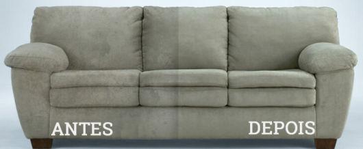 antes e depois sofá suede