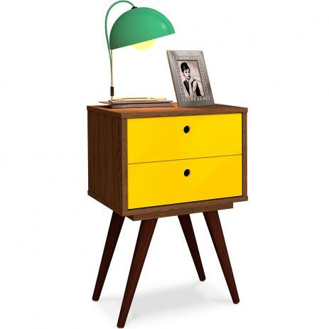 Padrão de madeira com gavetas amarelas