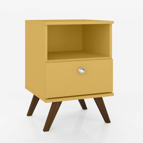 Criado mudo retrô amarelo com uma gaveta e uma abertura