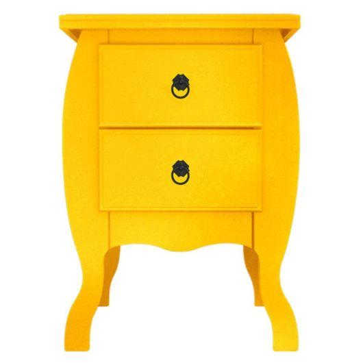 Tom amarelo vibrante com duas gavetas
