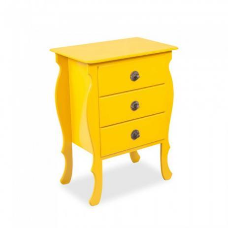 Criado mudo retrô amarelo com três gavetas