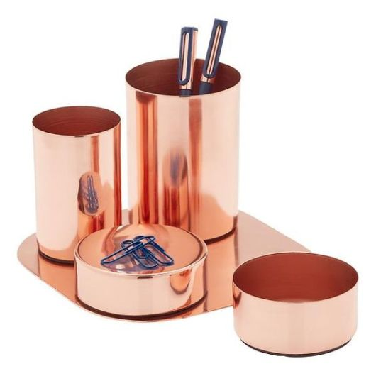 Porta-canetas rose gold