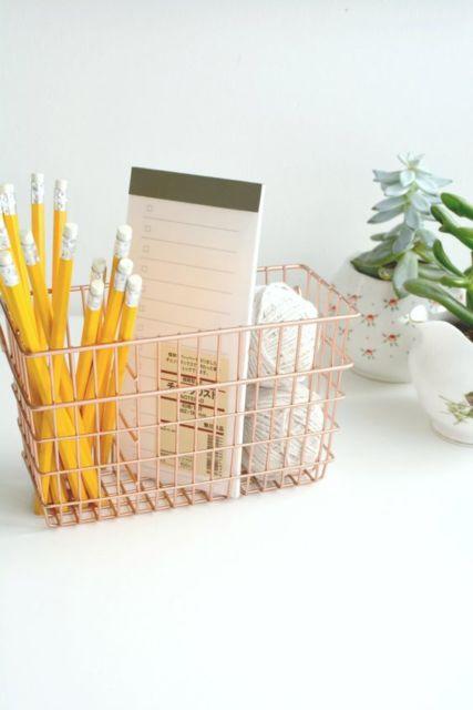 Porta-canetas rose gold
