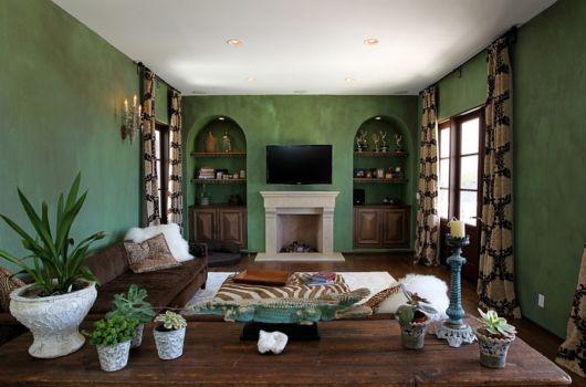 Tendência vintage nessa sala verde