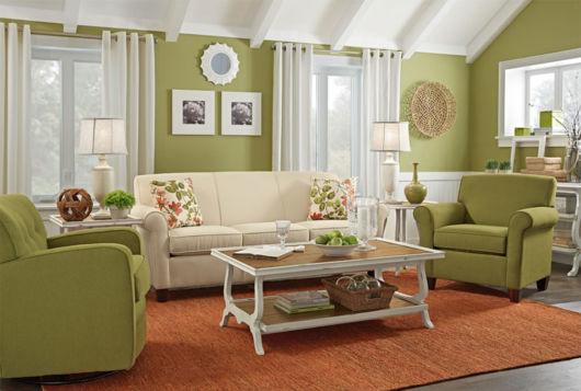 Uma sala aconchegante e moderna com um tom encantador