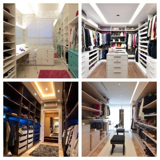 Projetos de closet luxuoso sem portas
