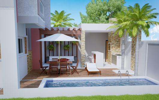 planta baixa de varanda com piscina e churrasqueira