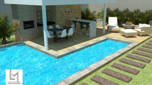 piscina em L e churrasqueira