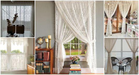 decoração com cortina de renda