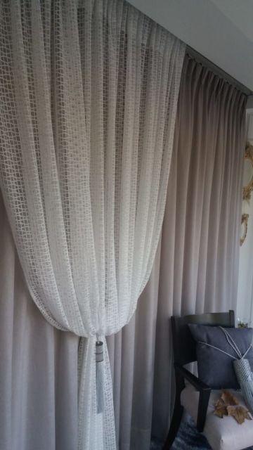 cortina com xale de renda