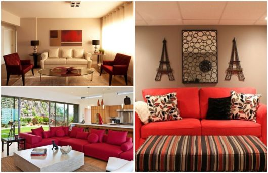 ideias para decoração em vermelho e bege