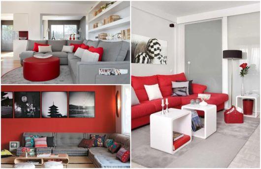 decoração em vermelho e cinza