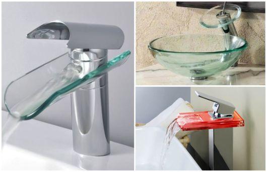 Existem torneiras de vidro de formatos variados