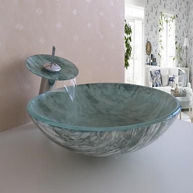Modelo de cuba e torneira que imita mármore