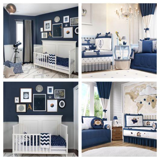 O quarto de bebê azul e branco fica com uma decoração impecável
