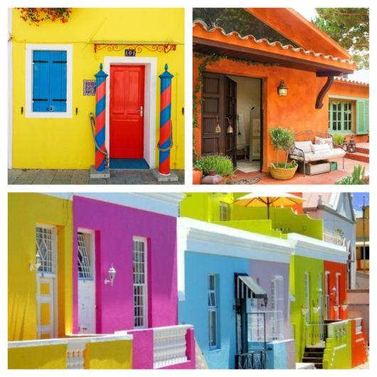Os tons vibrantes se sobressaem e deixam qualquer residência com uma linda fachada