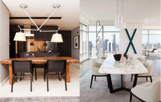 Duas ideias de salas de jantar com cadeiras modernas