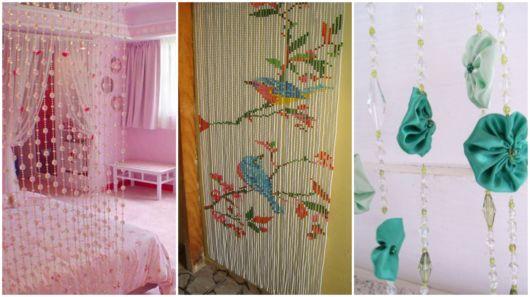 cortinas artesanais de miçangas