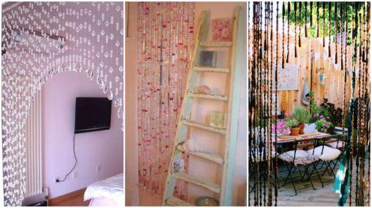 cortinas de miçangas de diversas cores