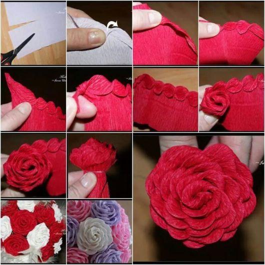 Passo a passo de flor e rosa feita de papel