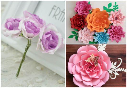 Rosas criadas com diversos tipos de papel