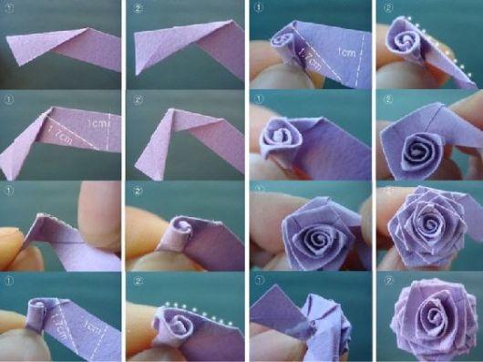 Origami de rosa passo a passo