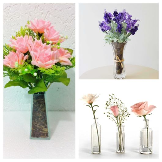 Vaso de vidro na decoração