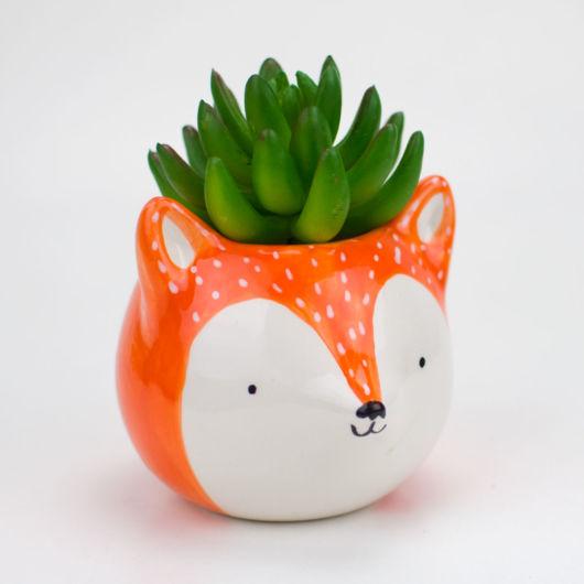 cachepot raposinha laranja com branco.