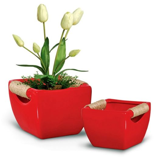modelo de cachepot de ceramica vermelho.