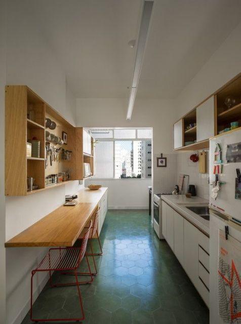 cozinha com piso verde