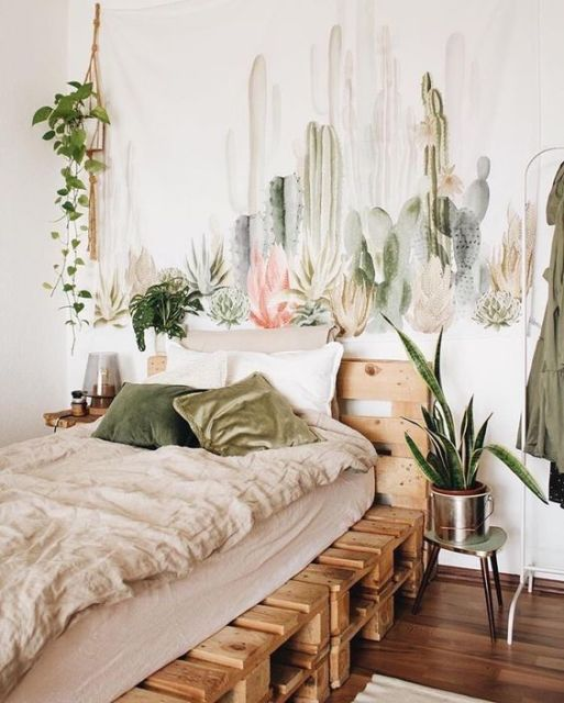 quarto com cama de pallets