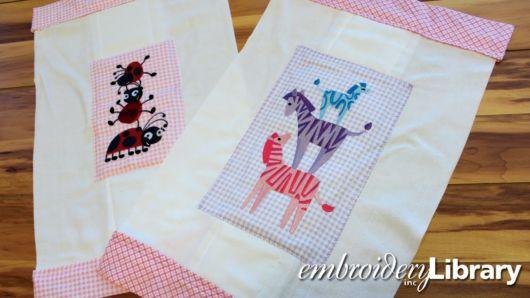 Fraldas bordadas com patchwork: zebra