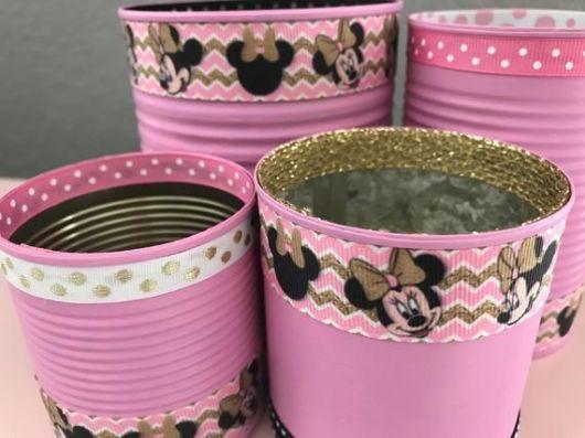 Latas decoradas para aniversário: Minnie
