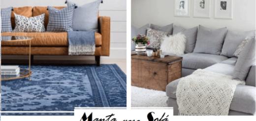 salas com sofás laranja e cinza e mantas azul e cinza.