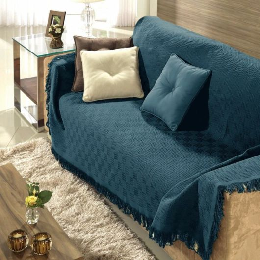 manta para sofá azul.