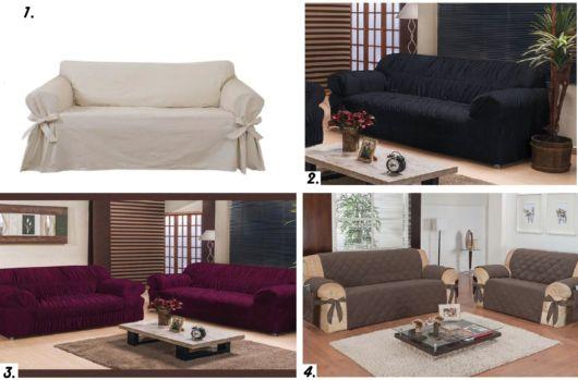 Montagens de sofás com mantas.