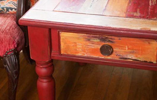 Pátina em madeira: laranja
