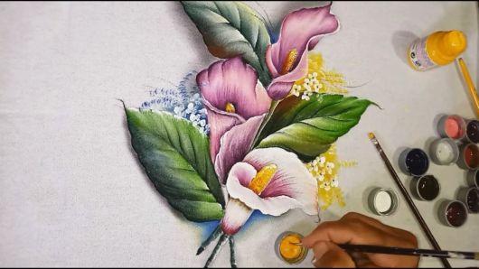 Pintura em tecido: copo-de-leite