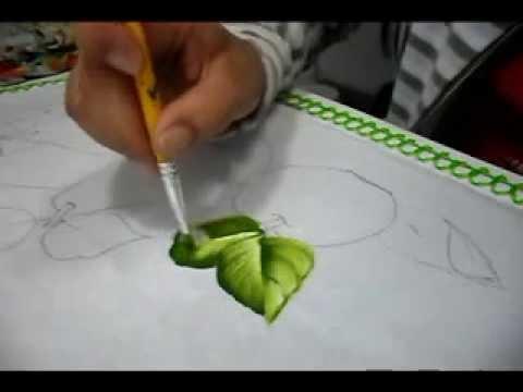 Pintura em tecido: folhas