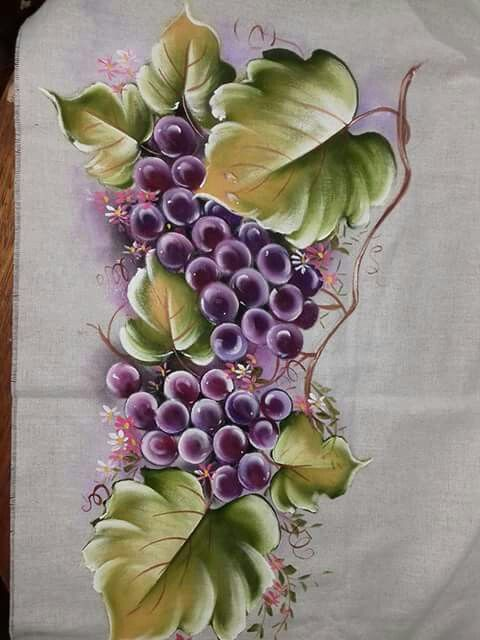 Pintura em tecido: uva roxa