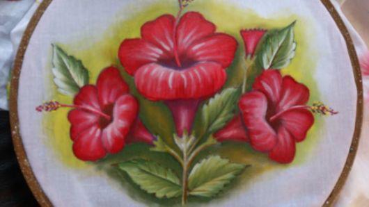 Pintura em tecido: hibisco vermelho